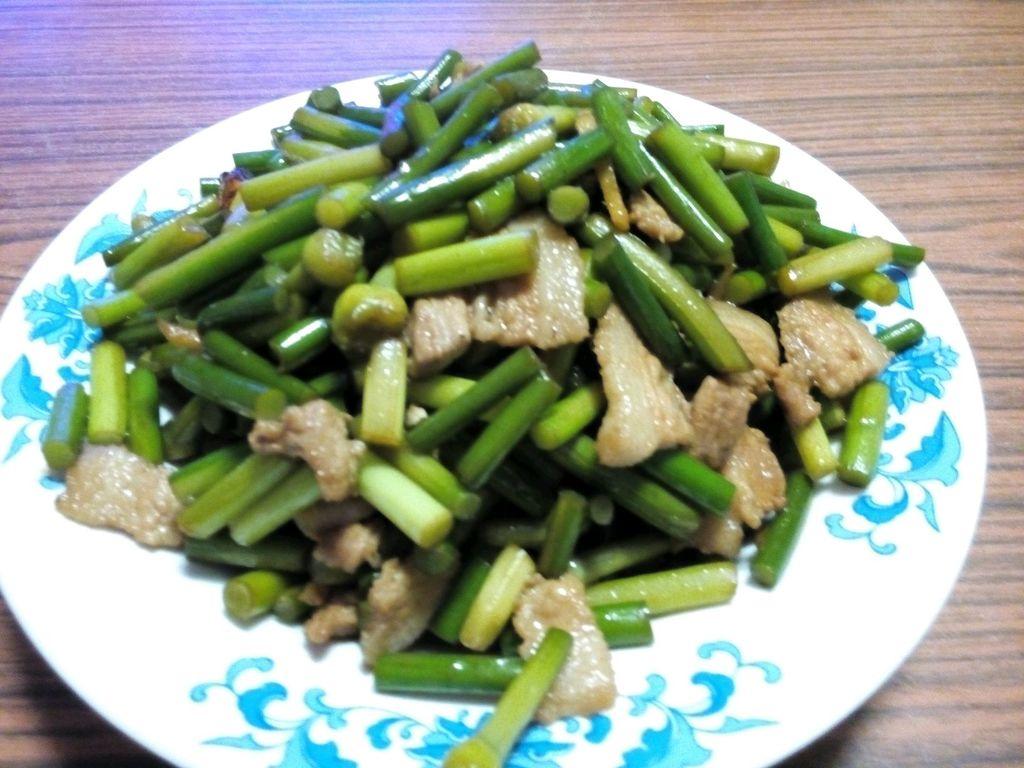 蒜苔炒功效猪肉对的香油图片