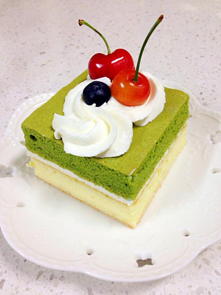 夏日清新抹茶水果小蛋糕-超简单!
