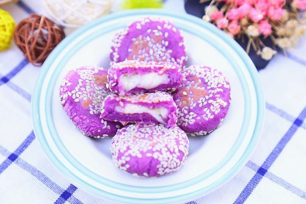 爆浆香芋紫薯饼 宝宝辅食食谱的做法