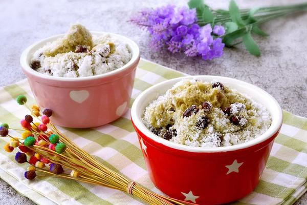 小清新-抹茶椰丝红豆蒸蛋糕的做法