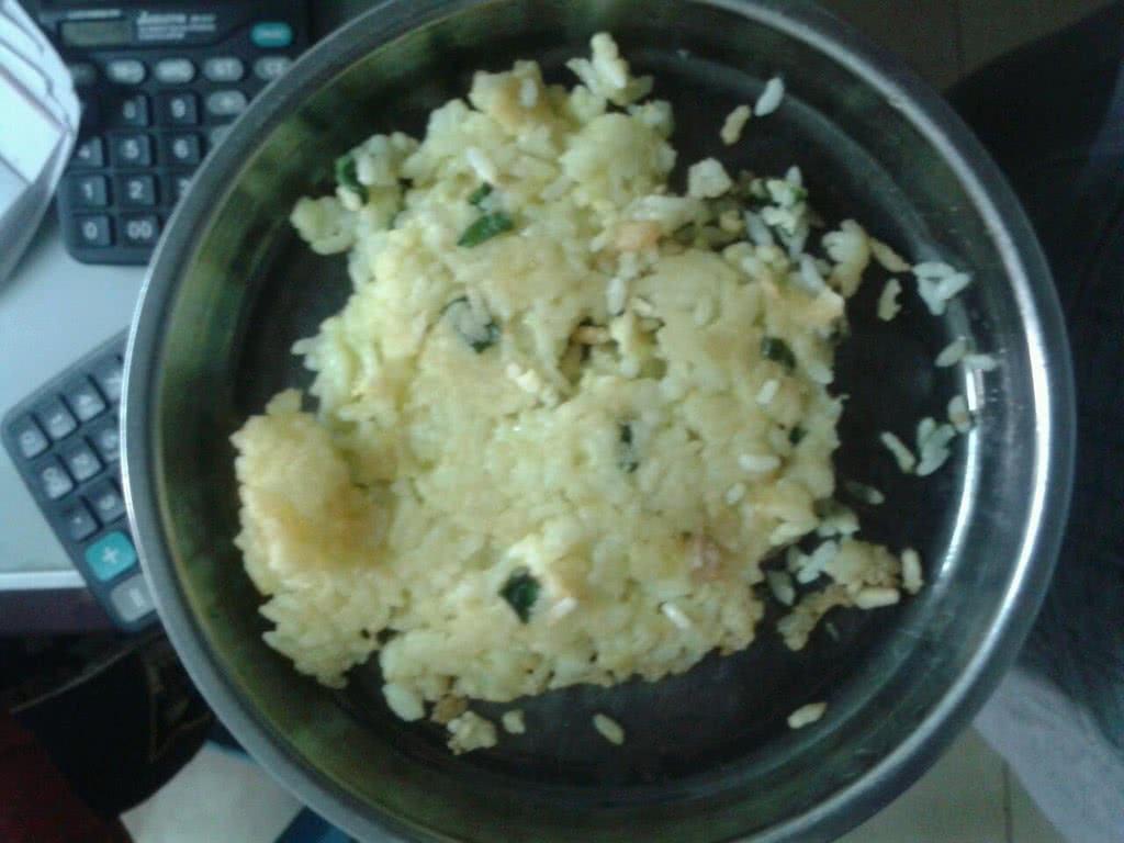 鸡蛋米饭饼的做法_【图解】鸡蛋米饭饼怎么做好吃_菜