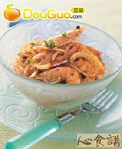 凉拌咖哩虾的做法