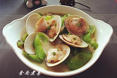 """蛤蜊烩丝瓜~【美亚粉尚""""靓瘦""""不粘锅试用3】"""