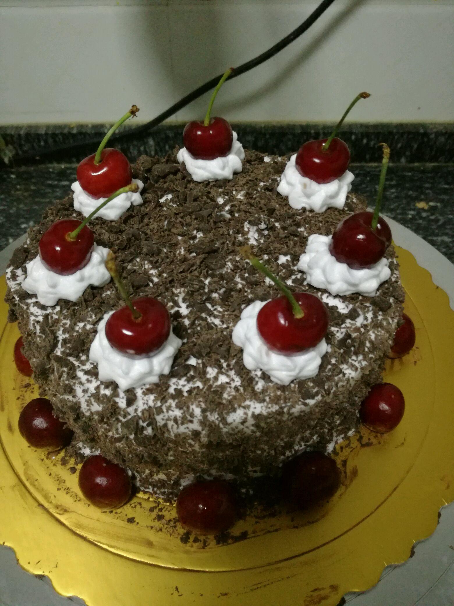 樱桃巧克力蛋糕,六寸装饰篇