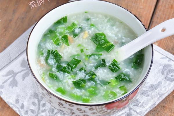 海米菜心粥的做法