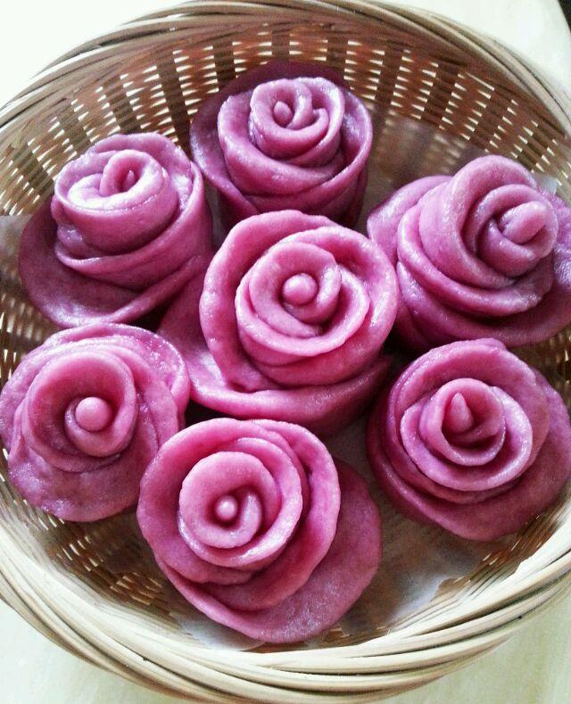 奶香紫薯玫瑰花卷的做法图解9