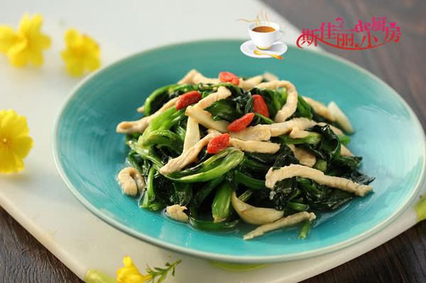 鸡丝炒菠菜