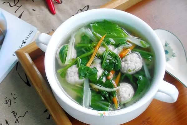 -小白菜肉丸汤#平衡美食大作战#的做法