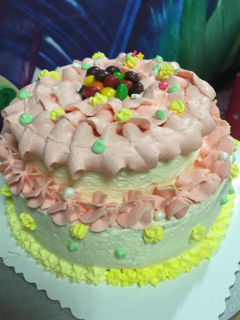 最后在底边挤上花纹,一个漂亮的蛋糕完成啦