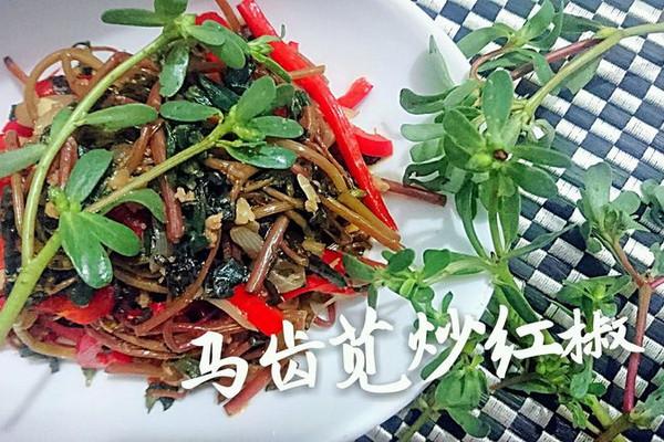 马齿苋炒红椒-欧米噶3脂肪酸抑制胆固醇吸收-蜜桃爱营养师私厨的做法