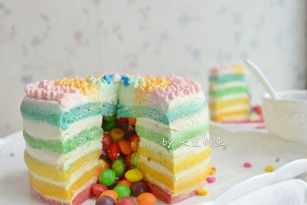 彩虹流心裸蛋糕#豆果5周年#的做法