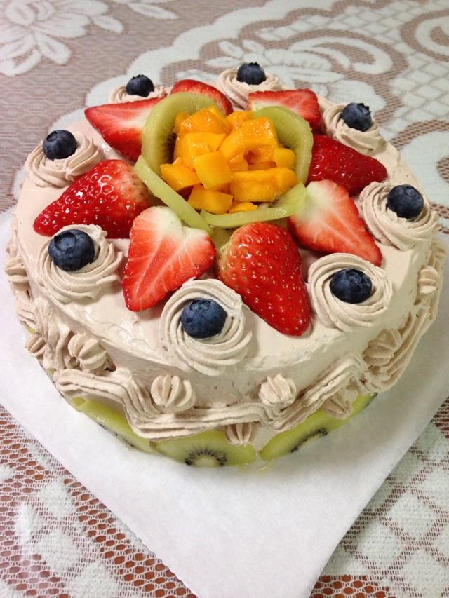 水果蛋糕的做法步骤 小贴士 戚风蛋糕做好要冷藏,因为我用的是动物