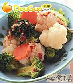 酱拌双色花椰菜的做法