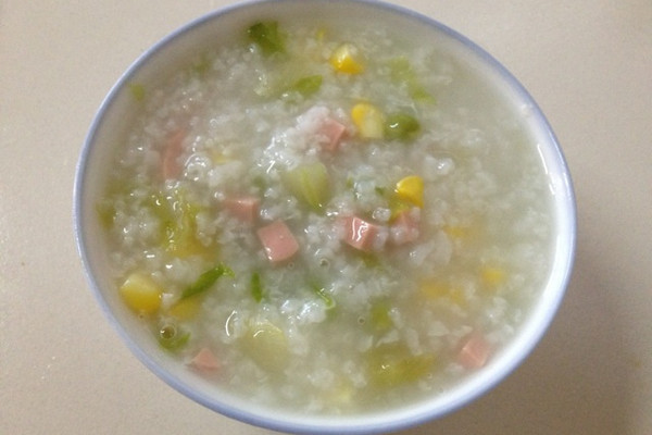 宝宝食谱      蔬菜火腿粥的做法