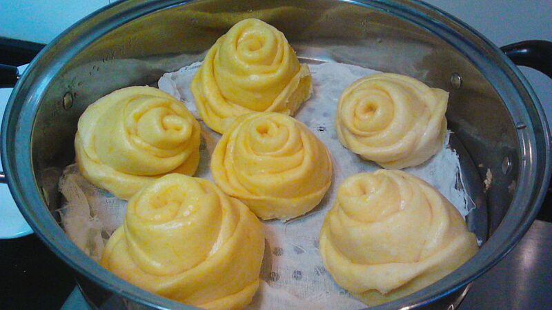 南瓜玫瑰花馒头的做法图解12