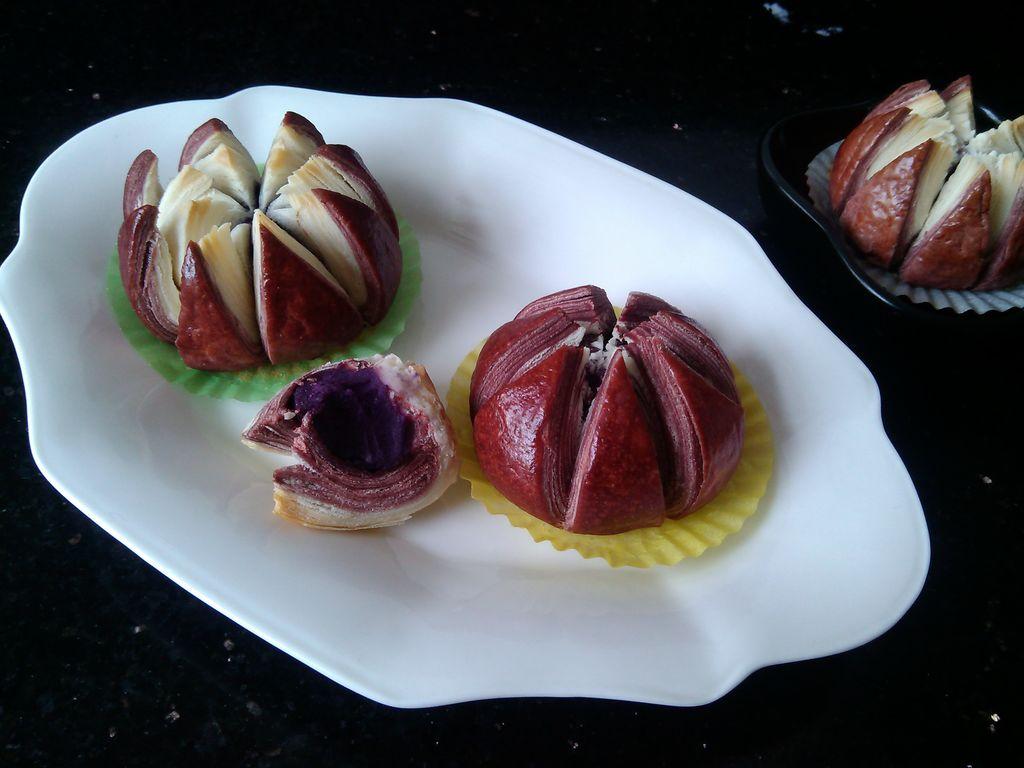 紫薯莲花酥-传统中式点心的做法图解28