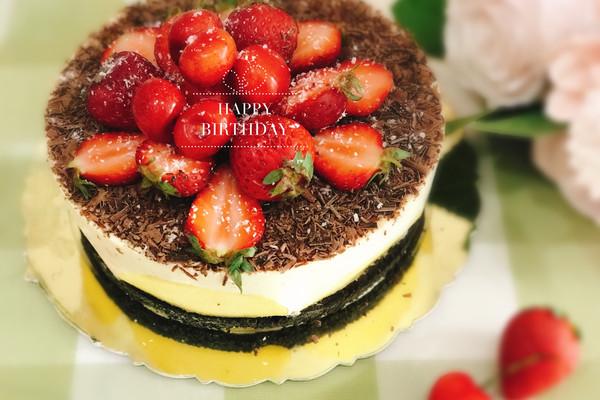 清新范草莓樱桃芒果芝士蛋糕的做法