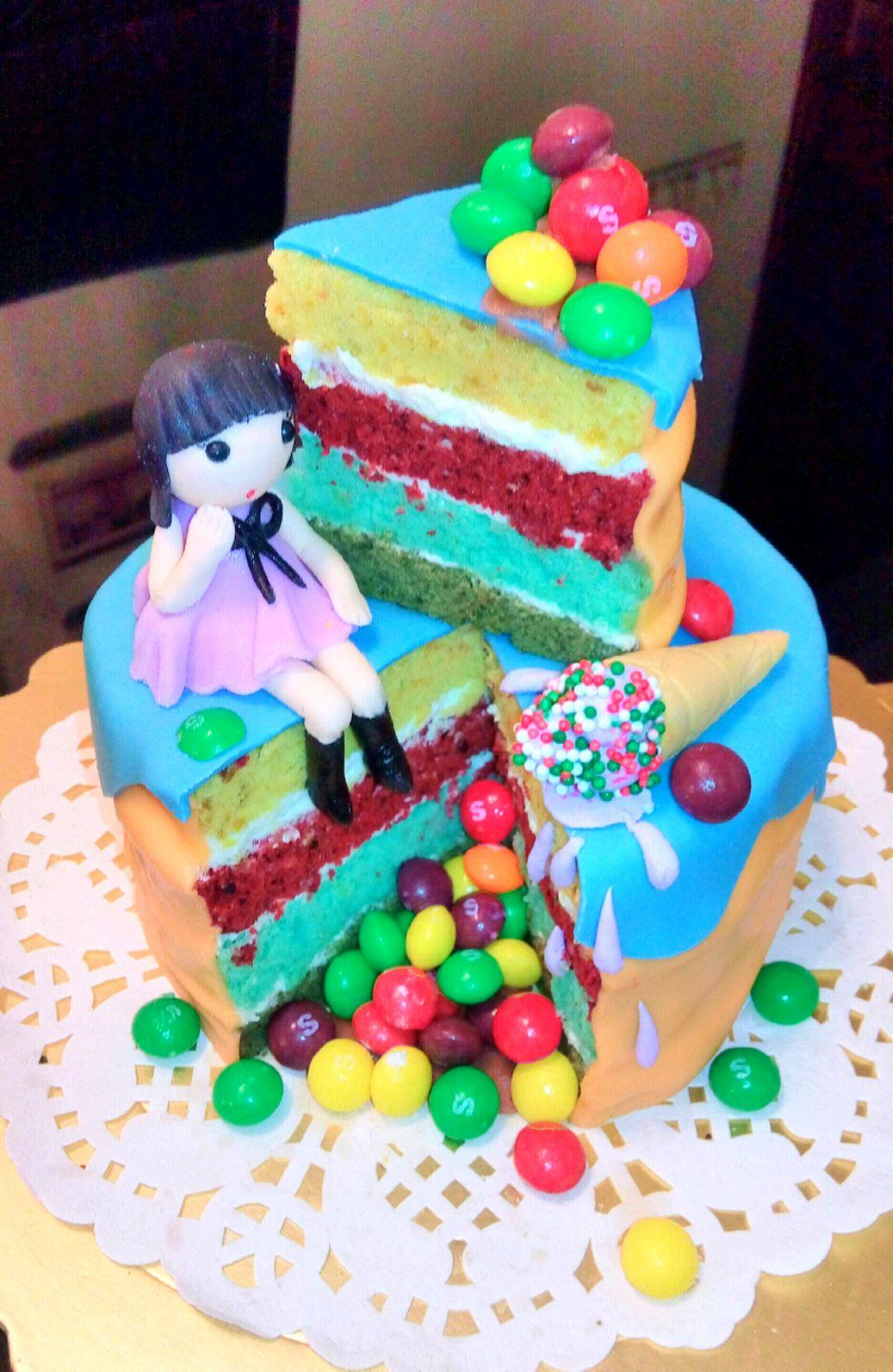 缤纷彩虹蛋糕#夏日时光图片
