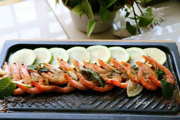 泰式青咖喱薄荷铁板虾