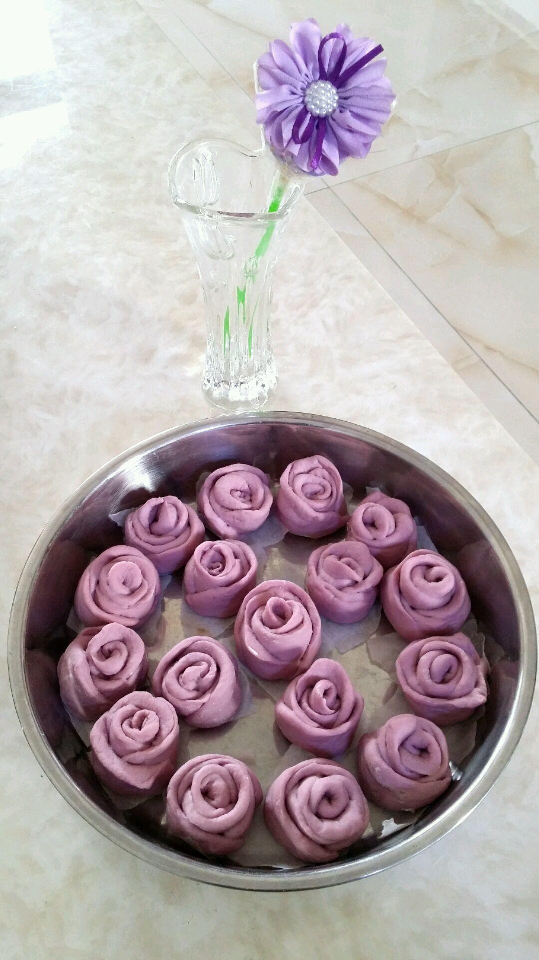 紫薯玫瑰花卷的做法步骤