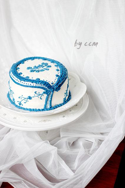 手绘旗袍青花瓷蛋糕#长帝烘焙节刚柔阁