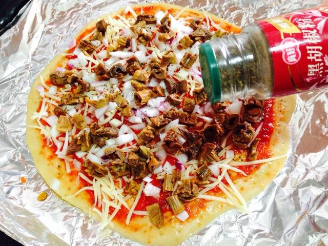 姬松茸薄皮披萨的做法图解21