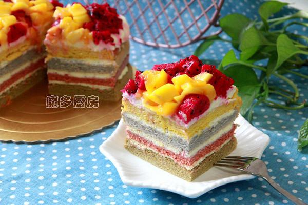 彩虹蛋糕(六寸方形)的做法