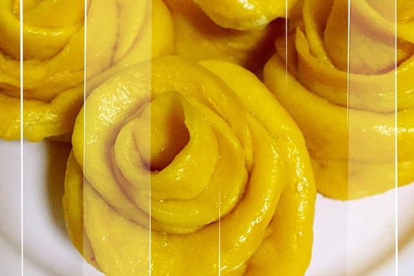 南瓜玫瑰花卷的做法_【图解】南瓜玫瑰花卷怎么做如何