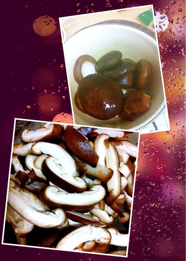 图解 香菇/2. 鲜香菇切片备用。