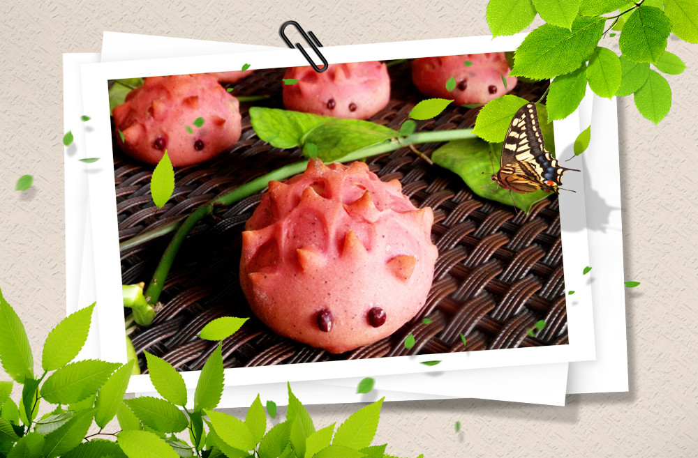 火龙果刺猬小面包图片