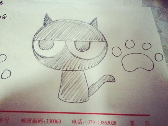 创意小猫小爪绘图蛋糕卷