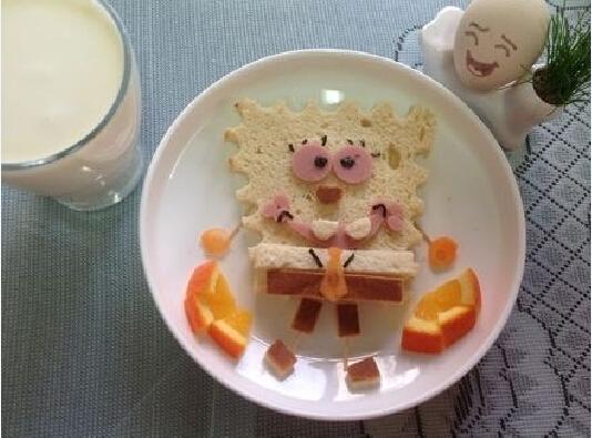 孩子最爱——海绵宝宝面包餐的做法图解5