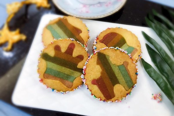 【美食魔法】彩虹饼干植物粉版的做法