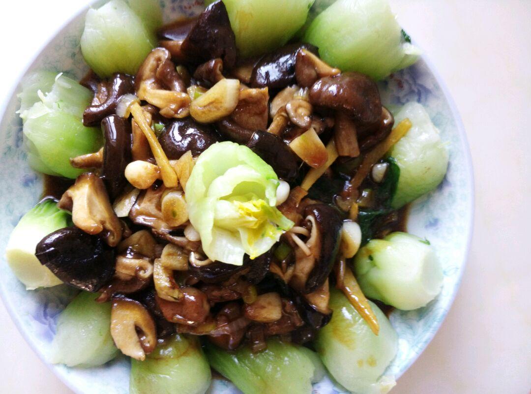 耗油香菇油菜的做法图解5
