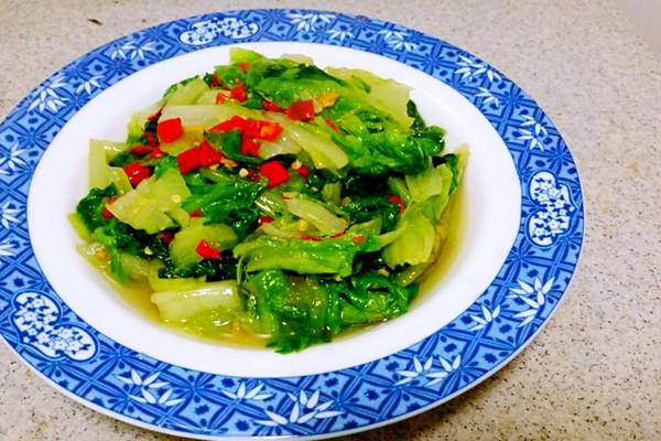 蔬菜新鲜做法     主料 500g 剁椒酱4勺 盐1勺 剁椒炒生菜的做法步骤