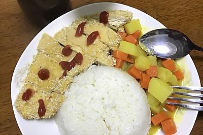 低卡咖喱鸡排饭(减肥可吃)