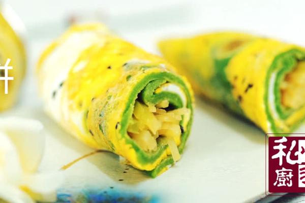 小羽私厨之菠菜土豆丝卷饼的做法