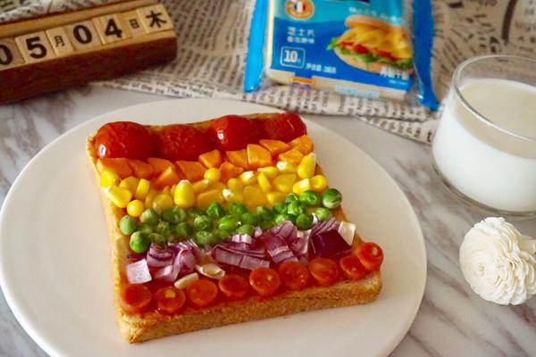 彩虹吐司披萨#百吉福食尚达人#的做法