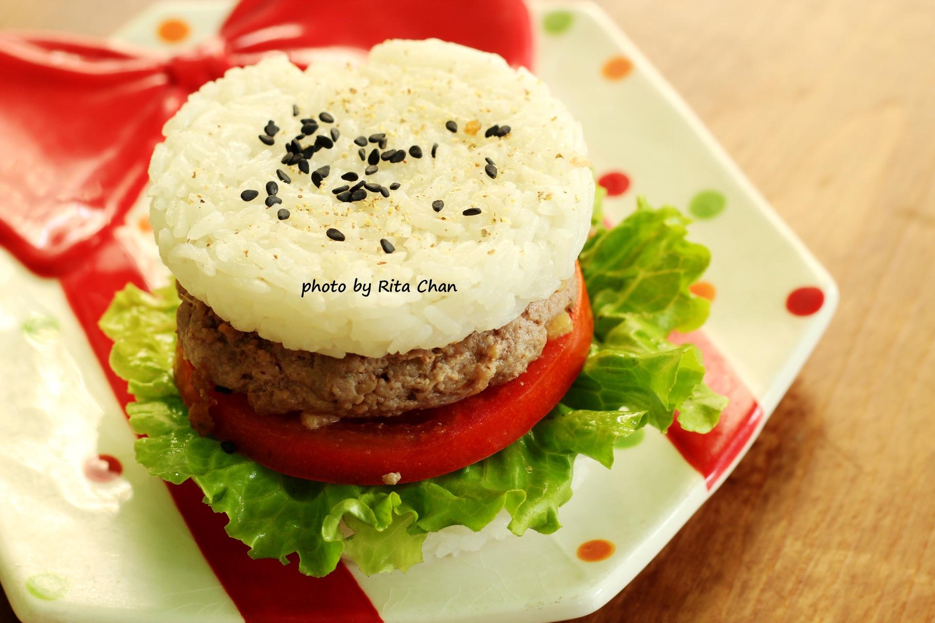 造型可爱的米饭汉堡,满满哒正能量!