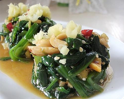 姜汁菠菜墩的做法