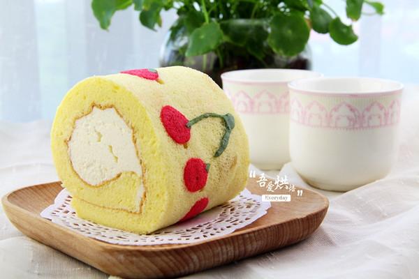 樱桃手绘蛋糕卷