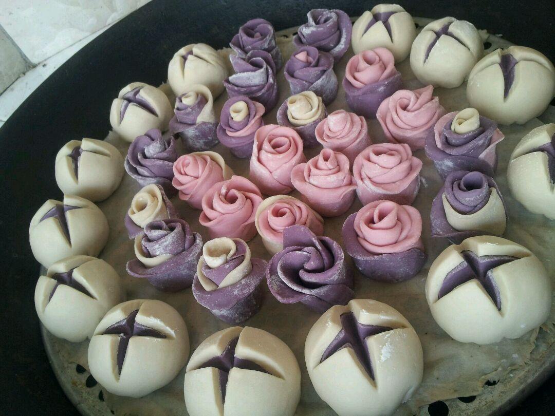 12种花样馒头做法大全_紫薯花样包子火龙果馒头的做法图解9