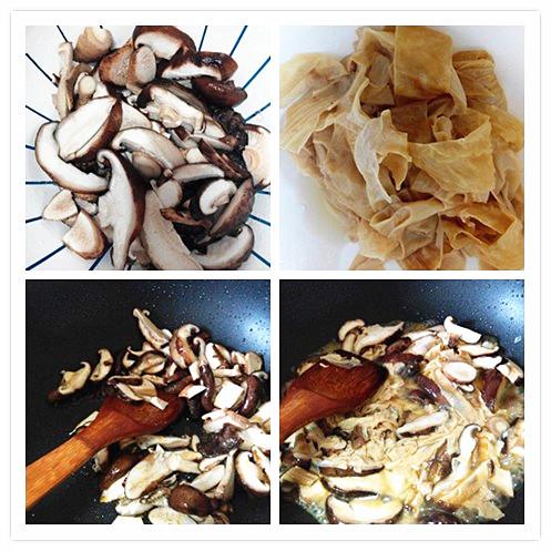 图解 香菇/1. 香菇切片抄水。豆腐衣泡软切条。