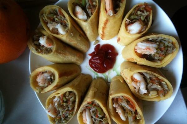 虾仁蔬菜春卷的做法