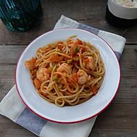 健康减脂早餐—番茄虾仁意大利面