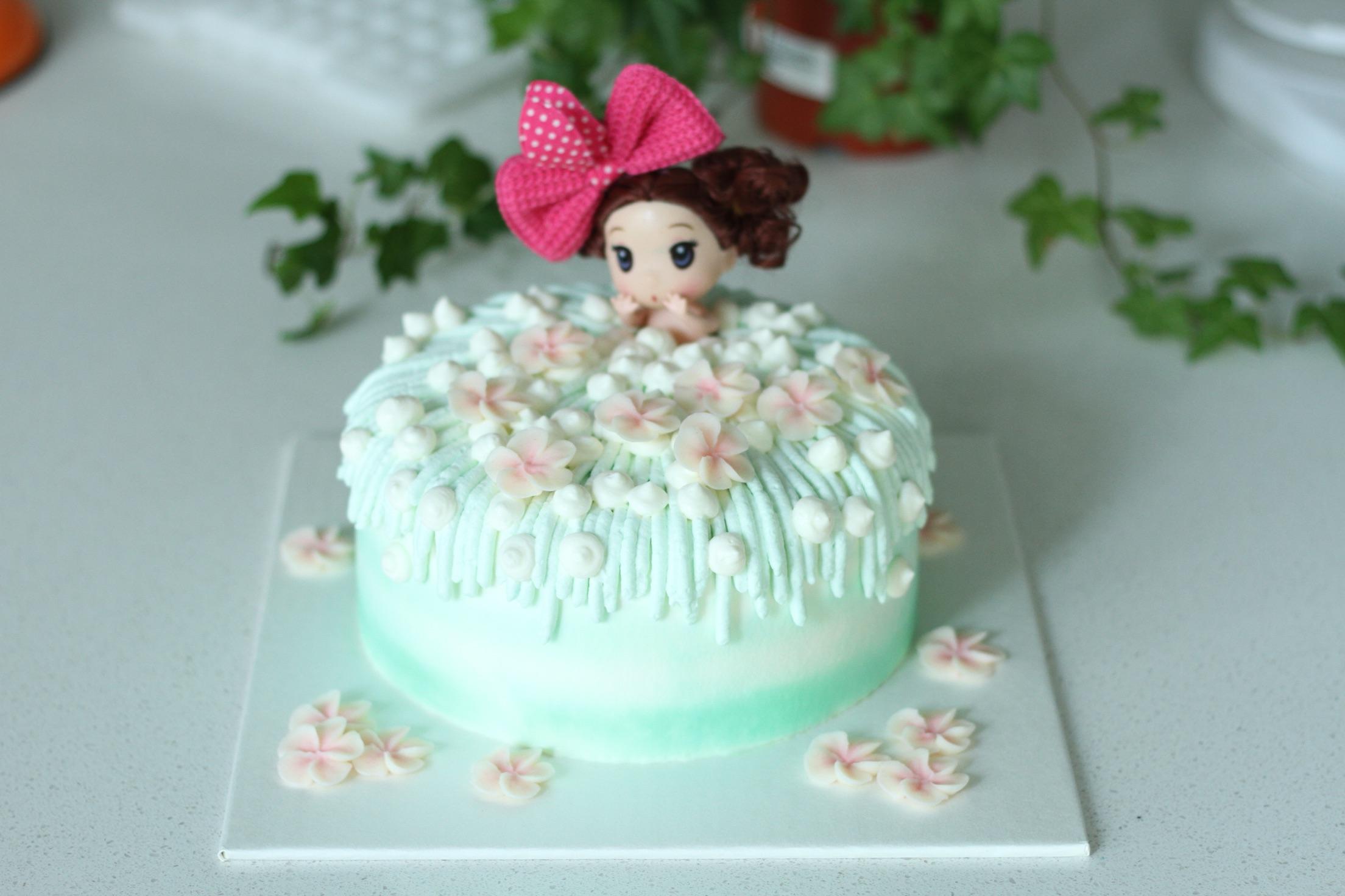 裱花袋2个 保鲜膜少量 泡泡浴娃娃蛋糕详细制作过程的做法步骤 小贴士