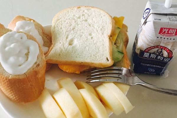 快     主料 吐司面包,鸡蛋,黄瓜 早餐的做法步骤        本菜