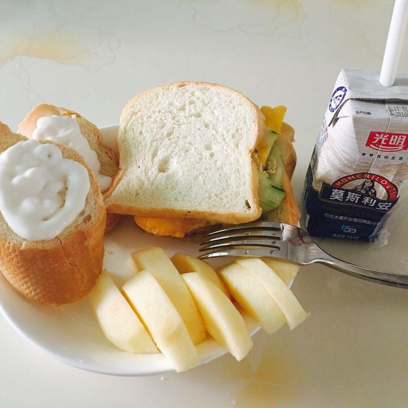 快     主料 吐司面包,鸡蛋,黄瓜 早餐的做法步骤        本