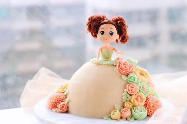 芭比豆沙裱花蛋糕