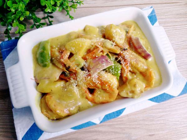 在家享受泰国菜---椰香咖喱虾